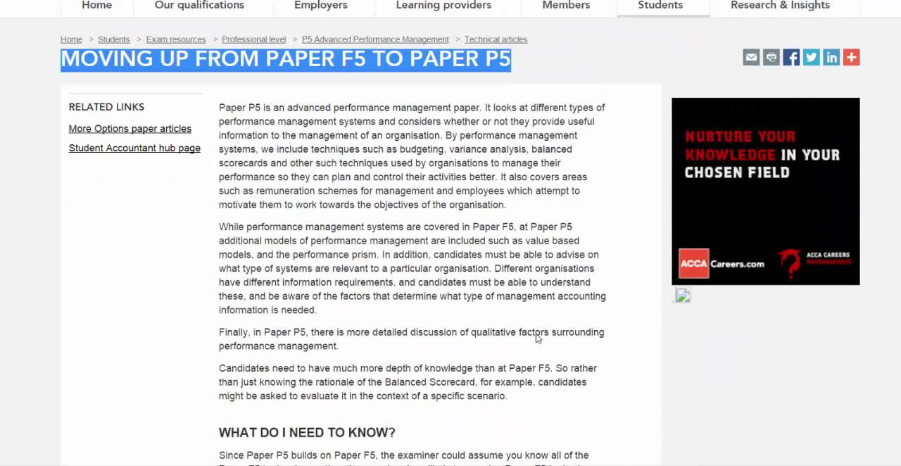 Acca p5 articles